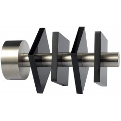 Embout Tringle à Rideau D28 Quatro Nickel Mat/Noir