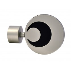 Embout Tringle à Rideau D28 Ellipse Nickel Givre/Noir