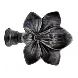 Embout Tringle à Rideau D19 Fleur Noir Brosse