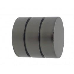Embout Tringle à Rideau D19 Cylindre Strie Nickel Noir