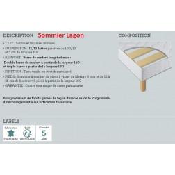 Pack *** 90x190 cm Matelas Queen + Sommier Lagon Non Feu avec Pieds Accueil