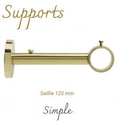 Support Tringle Classique D28 Saillie 125mm Laiton Verni